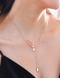 Fashion Gold Double-layer Freshwater Pearl 18k Gold Pin Letter Necklace