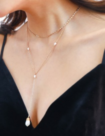 Fashion Gold Multi-layer Bead Chain Natural Freshwater Pearl Y-shaped Necklace