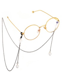 Fashion Black Chain Hanging Neck Pearl Glasses Chain
