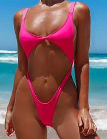 Fashion Fluorescent Rose Gathered Chest Pad One-piece Swimsuit