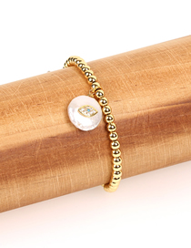 Fashion Gold Copper Bead Weaving Micro Inlay Pearl Button Bracelet