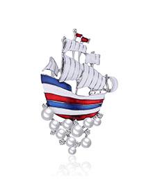 Fashion White Alloy Pearl-encrusted Ship Brooch