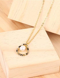 Fashion Gold Rice Beads Drop-shaped Pearl Stainless Steel Necklace