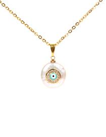 Fashion Gold Shaped Pearl Diamond Eye Necklace