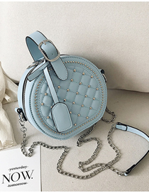 Fashion Blue Rhombic Rivet Portable Slung Shoulder Bag