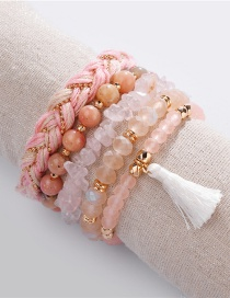 Fashion Pink Natural Stone Beads Gravel Crystal Rope Tassel Elastic Line 5 Sets