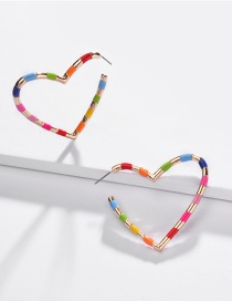 Fashion Color Alloy Heart-shaped Double-sided Drip Earrings