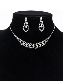 Fashion Silver Flower-shaped Hollow Diamond Necklace Earrings Set