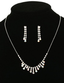 Fashion Color Fringed Diamond Necklace Earring Set