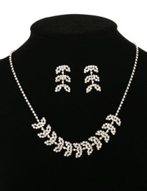 Fashion Silver Leaf Openwork Diamond Necklace Earrings Set
