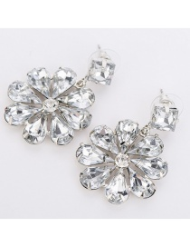 Fashion White Gem Flower Stud Earrings