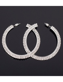 Fashion Silver Full Diamond Large Circle Earrings