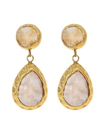 Fashion Gold Copper Natural Stone Drop Earrings