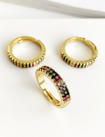 Fashion Gold Copper Inlaid Zircon Ring (1PCS)