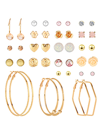 Fashion Gold Resin-studded Earrings 20 Pairs