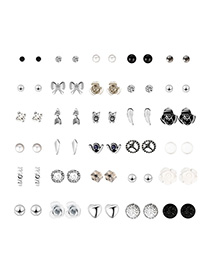 Fashion Silver Bow Tie Flower Alloy Earrings 30 Pairs