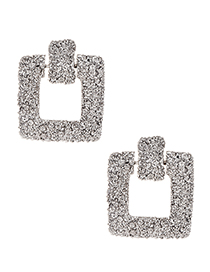 Fashion Silver Alloy Square Earrings