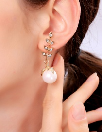 Fashion Gold S925 Sterling Silver Leaf Pearl Stud Earrings