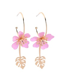 Fashion Pink S925 Sterling Silver Leaf Earrings