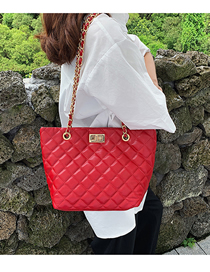 Fashion Red Pure Color Decorated Bag