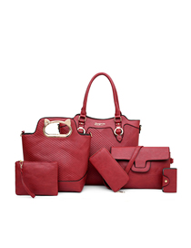 Fashion Red Wine Handbag Shoulder Messenger Bag Six-piece