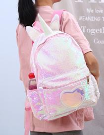 Fashion Light Pink Unicorn Sequin Shoulder Bag