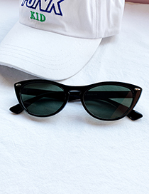 Fashion Black Green Resin Oval Sunglasses