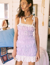 Fashion Purple Stacked Pleated Shoulder Strap Dress
