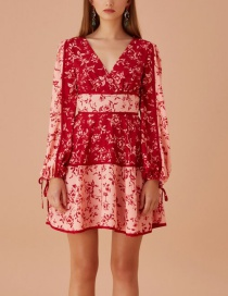 Fashion Red Printed Colorblock Long Sleeve Dress