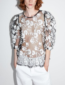 Fashion Black Translucent Embroidery Top