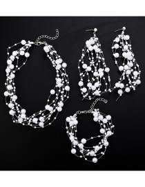 Fashion White Pearl Fish Line Tassel Necklace Earrings Bracelet Three-piece