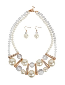 Fashion Creamy-white Imitation Pearl Transparent Acrylic Beaded Double Layer Alloy Necklace