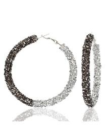 Fashion Gray Plus White K Large Circle Micro-studded Earrings
