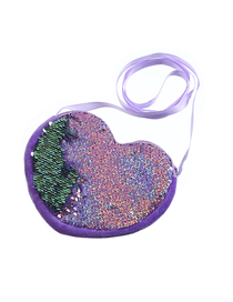 Fashion Violet Cartoon Heart-shaped Sequin Shoulder Messenger Bag