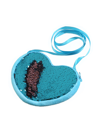 Fashion Light Blue Cartoon Heart-shaped Sequin Shoulder Messenger Bag