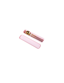 Fashion Pink Box + Pink Spoon Chopsticks 304 Stainless Steel Portable Tableware Chopsticks Spoon Three-piece