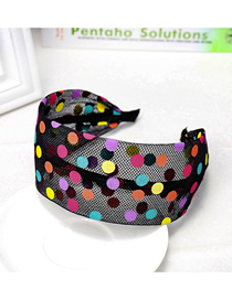 Fashion Black Wave Point Wide Side Bow Lace Headband