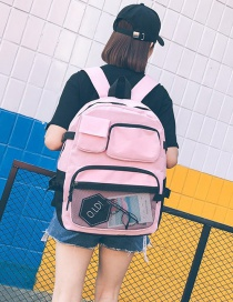 Fashion Pink Splicing Mesh Multi-function Backpack