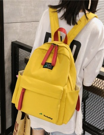 Fashion Yellow Contrast Embroidered Backpack