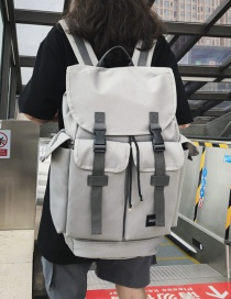 Fashion Gray Belt Buckle Backpack