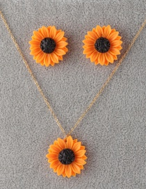 Fashion 25mm Orange Sun Flower Stud Earrings Set