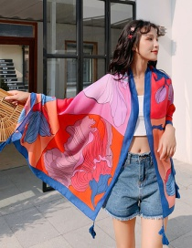 Fashion Color Big Flower Print Tassel Scarf Shawl
