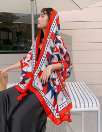 Fashion Color Diamond Printed Tassel Scarf Shawl