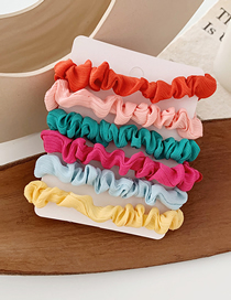 Fashion Color Cloth Hair Ring 6 Pieces