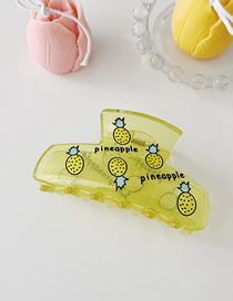 Fashion Yellow Pineapple Transparent Fruit Print Grab Hair Clip