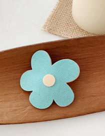 Fashion Lake Blue Suede Flower Hair Clip