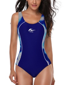 Fashion Blue Dot Quick-drying Triangle Chest Pad One-piece Swimsuit