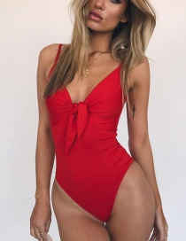 Fashion Red Bow Tie Swimsuit