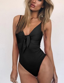 Fashion Black Bow Tie Swimsuit