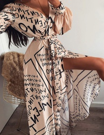 Fashion Brown Letter Printed Split Dress